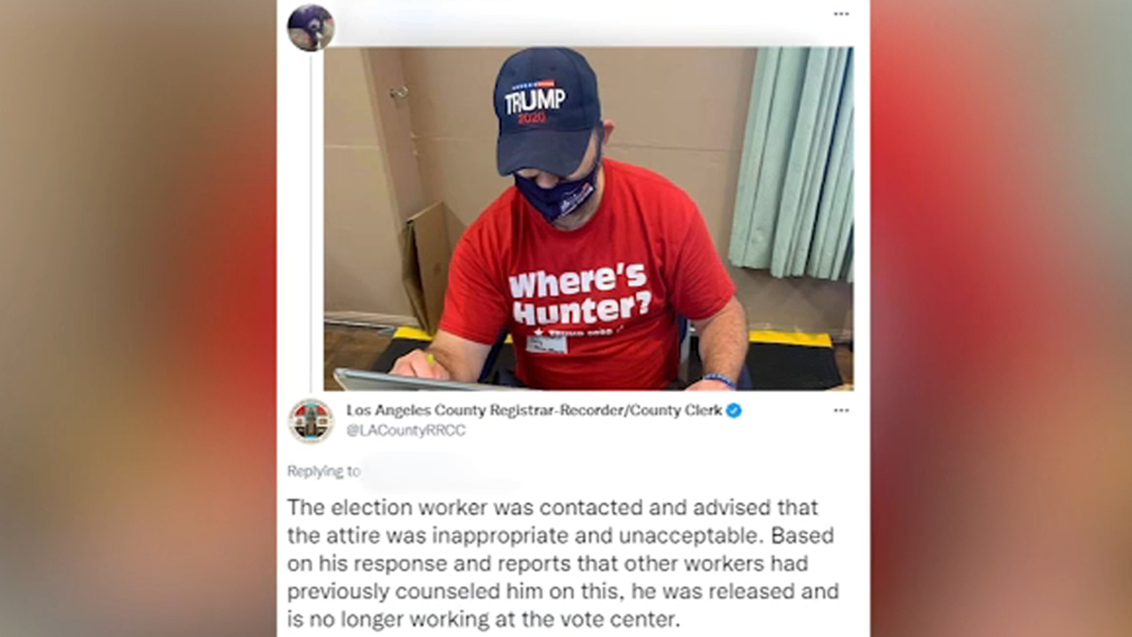 West Hollywood poll worker removed for wearing pro-Trump clothing at voting site - KABC-TV