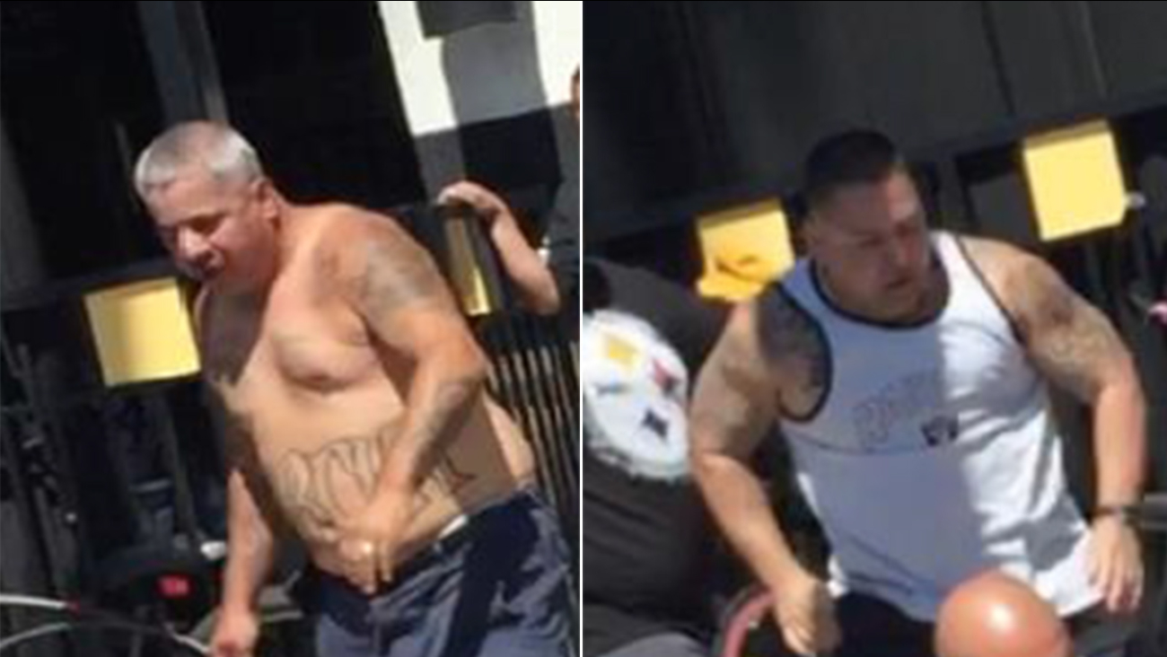 Downey police were looking to identify two men suspected of being involved in a fight outside the Buffalo Wild Wings at the Stonewood Center on Sunday, Sept. 20, 2015.