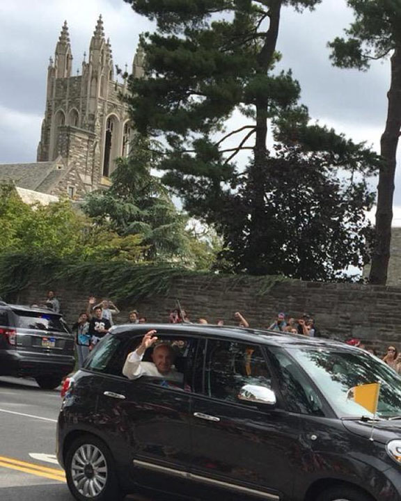 <div class='meta'><div class='origin-logo' data-origin='none'></div><span class='caption-text' data-credit=''>Saint Joseph's University freshman Kellie O'Brien took this photo of Pope Francis on City Avenue near campus.</span></div>