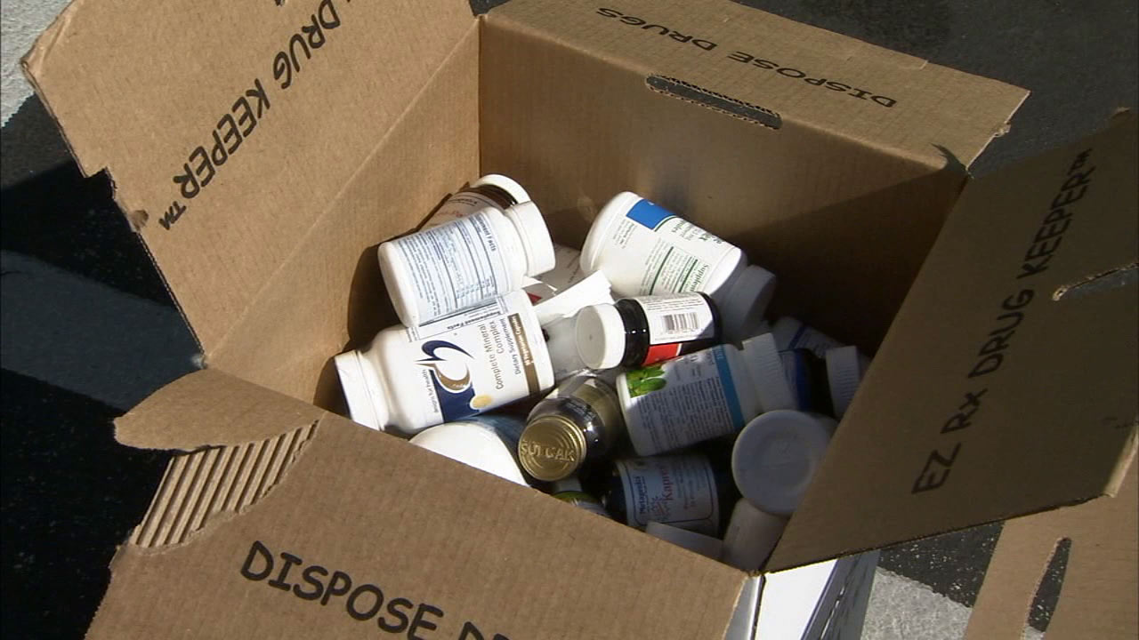 A box full of medication is seen at a drug take back event held by Kaiser Permanente and the LAPD Saturday, Sept. 26, 2015.