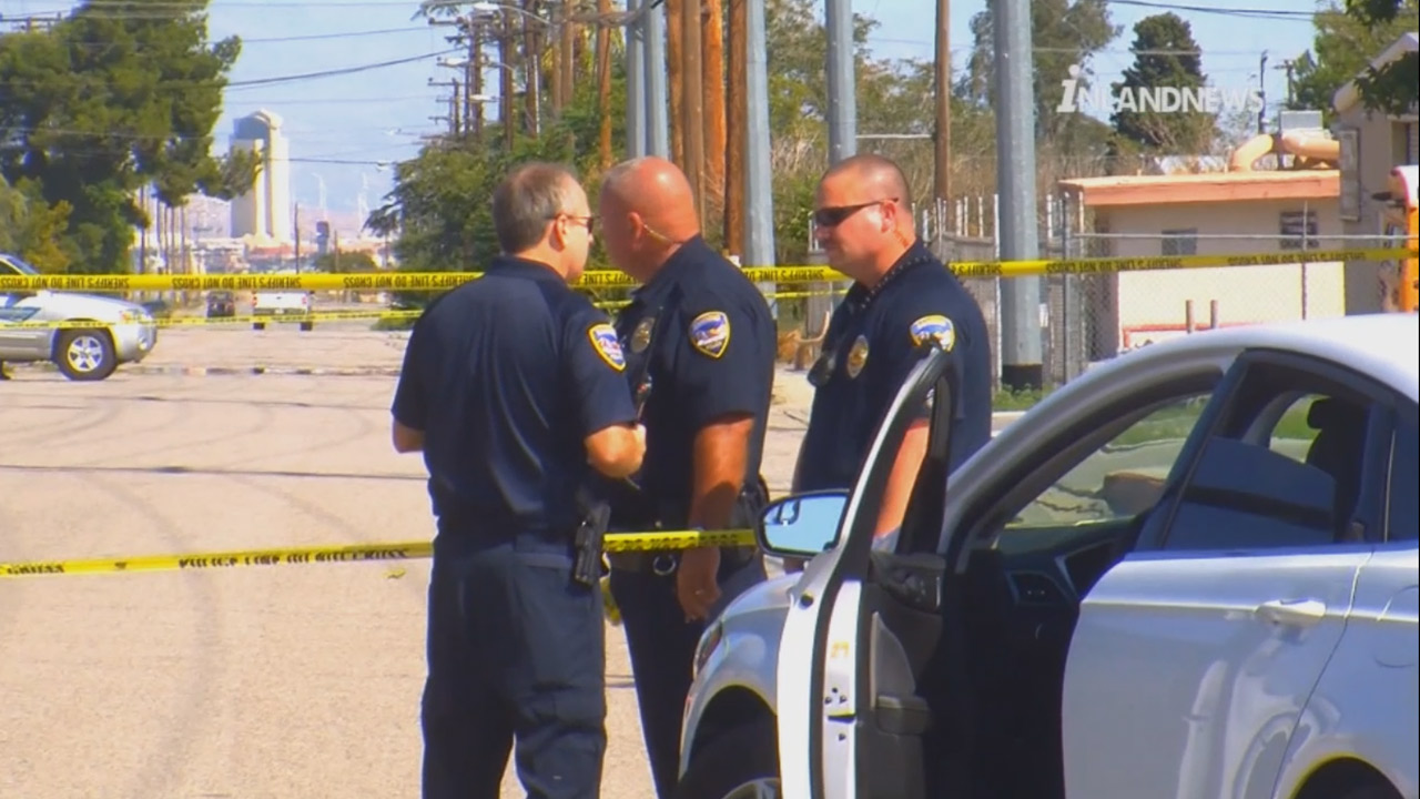 Authorities respond to a shooting in the city of Banning on Saturday, Sept. 26, 2015.