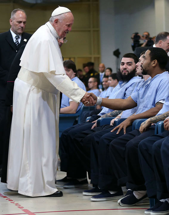 "<div class=""meta image-caption""><div class=""origin-logo origin-image none""><span>none</span></div><span class=""caption-text"">Pope Francis greets inmates during his visit to Curran Fromhold Correctional Facility in Philadelphia, Sunday, Sept. 27, 2015. (Photo/David Maialetti)</span></div>"