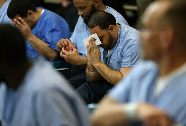 "<div class=""meta image-caption""><div class=""origin-logo origin-image none""><span>none</span></div><span class=""caption-text"">Inmate David Hernandez, 39, of North Philadelphia, prays during Pope Francis' visit to Curran Fromhold Correctional Facility in Philadelphia, Sunday, Sept. 27, 2015. (Photo/David Maialetti)</span></div>"