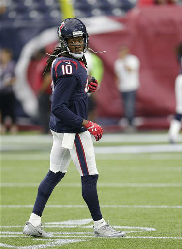 "<div class=""meta image-caption""><div class=""origin-logo origin-image none""><span>none</span></div><span class=""caption-text"">Houston's DeAndre Hopkins (10) warms up before  the game. (AP Photo/ David J. Phillip)</span></div>"