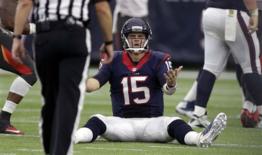 "<div class=""meta image-caption""><div class=""origin-logo origin-image none""><span>none</span></div><span class=""caption-text"">Houston Texans' Ryan Mallett (15) questions a call during the first half of an NFL football game (AP Photo/ Patric Schneider)</span></div>"