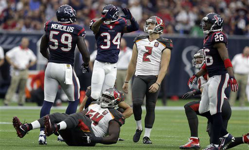 "<div class=""meta image-caption""><div class=""origin-logo origin-image none""><span>none</span></div><span class=""caption-text"">Tampa Bay Buccaneers' Kyle Brindza (2) reacts after missing a field goal attempt (AP Photo/ Patric Schneider)</span></div>"