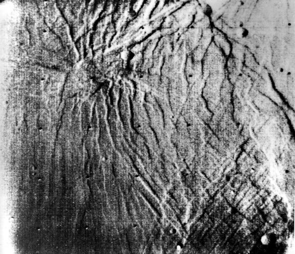 <div class='meta'><div class='origin-logo' data-origin='none'></div><span class='caption-text' data-credit='Photo/AP'>A partial lifting of the dust storm enabled the Mariner 9 to record this view of the surface from an elevation of 4,000 miles on Dec. 17, 1971.</span></div>