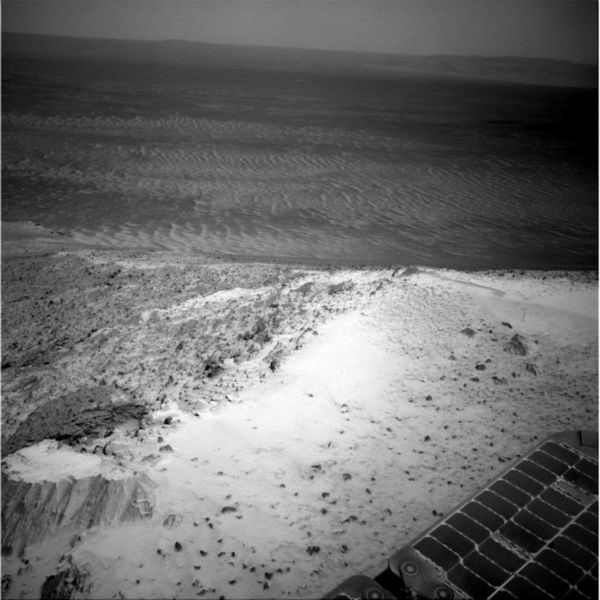 <div class='meta'><div class='origin-logo' data-origin='none'></div><span class='caption-text' data-credit='Photo/AP'>This image sent by NASA's Opportunity rover on Jan. 7, 2015 shows a view from atop a Martian hill.</span></div>