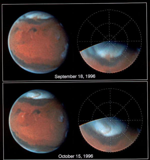 <div class='meta'><div class='origin-logo' data-origin='none'></div><span class='caption-text' data-credit='Photo/AP'>These photos, taken of the planet Mars by the Hubble Space Telescope in 1996, show a huge dust storm churning near the edge of the north polar cap.</span></div>