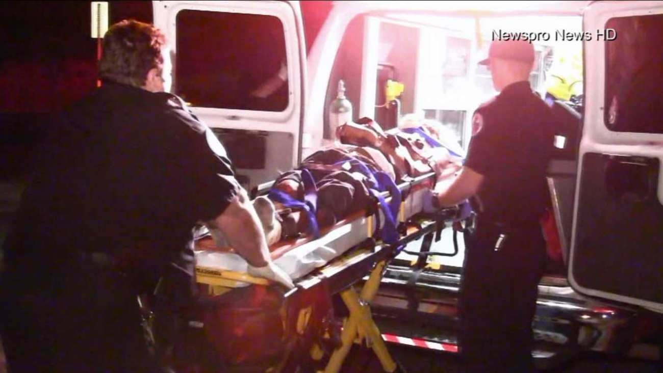 An elderly man was transported to Loma Linda University Medical Center after being struck by a hit-and-run driver in San Bernardino on Sunday, Sept. 27, 2015.