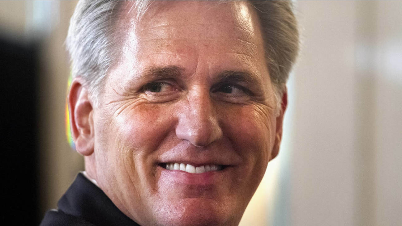 House Majority Leader Kevin McCarthy of Calif. smiles after finishing a speech about foreign policy, Monday, Sept. 28, 2015 in Washington. (AP Photo/Jacquelyn Martin)