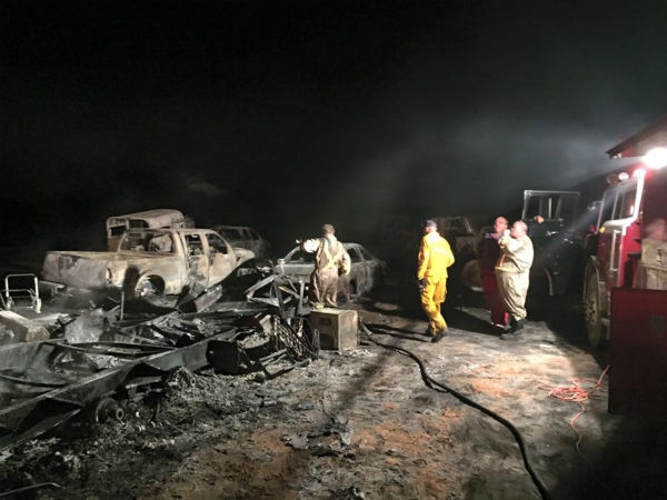 "<div class=""meta image-caption""><div class=""origin-logo origin-image none""><span>none</span></div><span class=""caption-text"">More than a dozen vehicles and trailers were destroyed in a fire parked in Central Texas. (Photo/Blue Volunteer Fire Department)</span></div>"