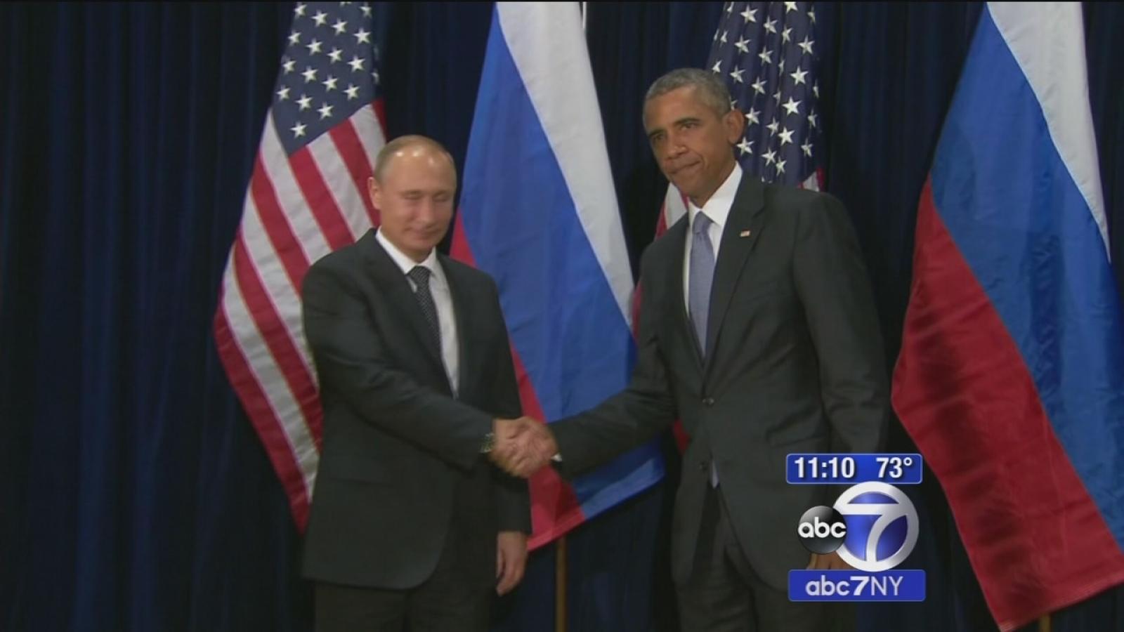 President Barack Obama Russian President Vladimir Putin Spar Over Assad S Role In Syria S Future Abc7 New York