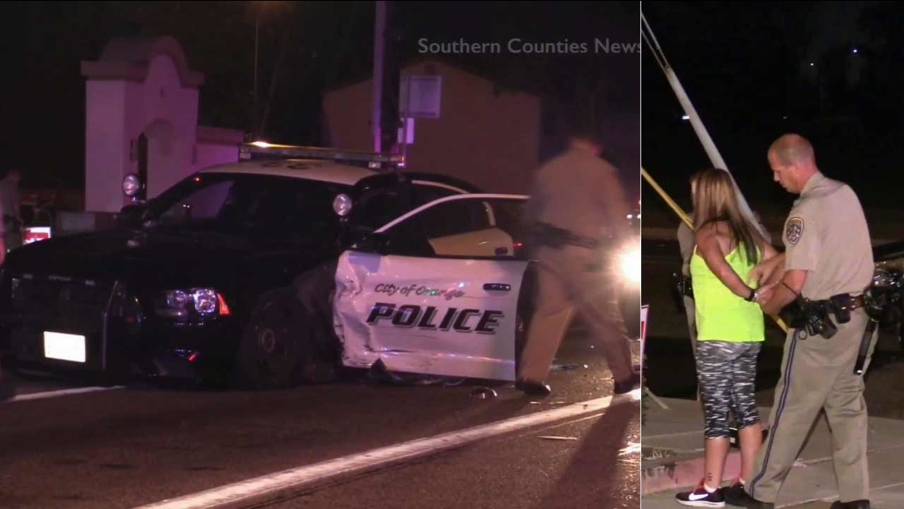 An alleged DUI driver slammed into a police patrol car near South Yorba Street and East Chapman Avenue in Orange on Monday, Sept. 28, 2015.