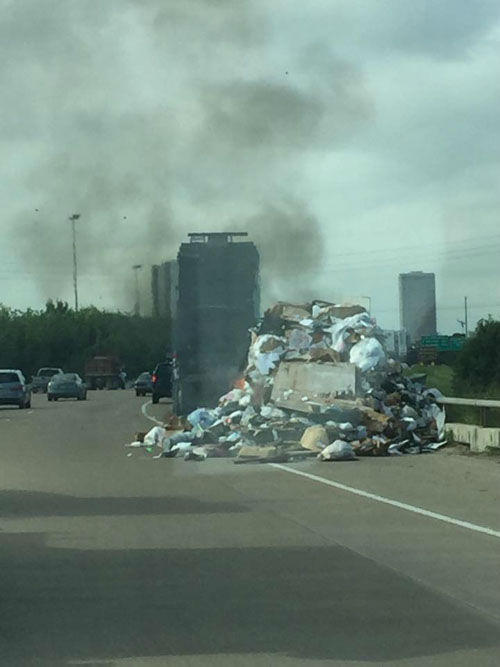 "<div class=""meta image-caption""><div class=""origin-logo origin-image none""><span>none</span></div><span class=""caption-text"">A garbage truck fire caused some delays on Highway 288 near Blodgett (Photo/iWitness viewer)</span></div>"