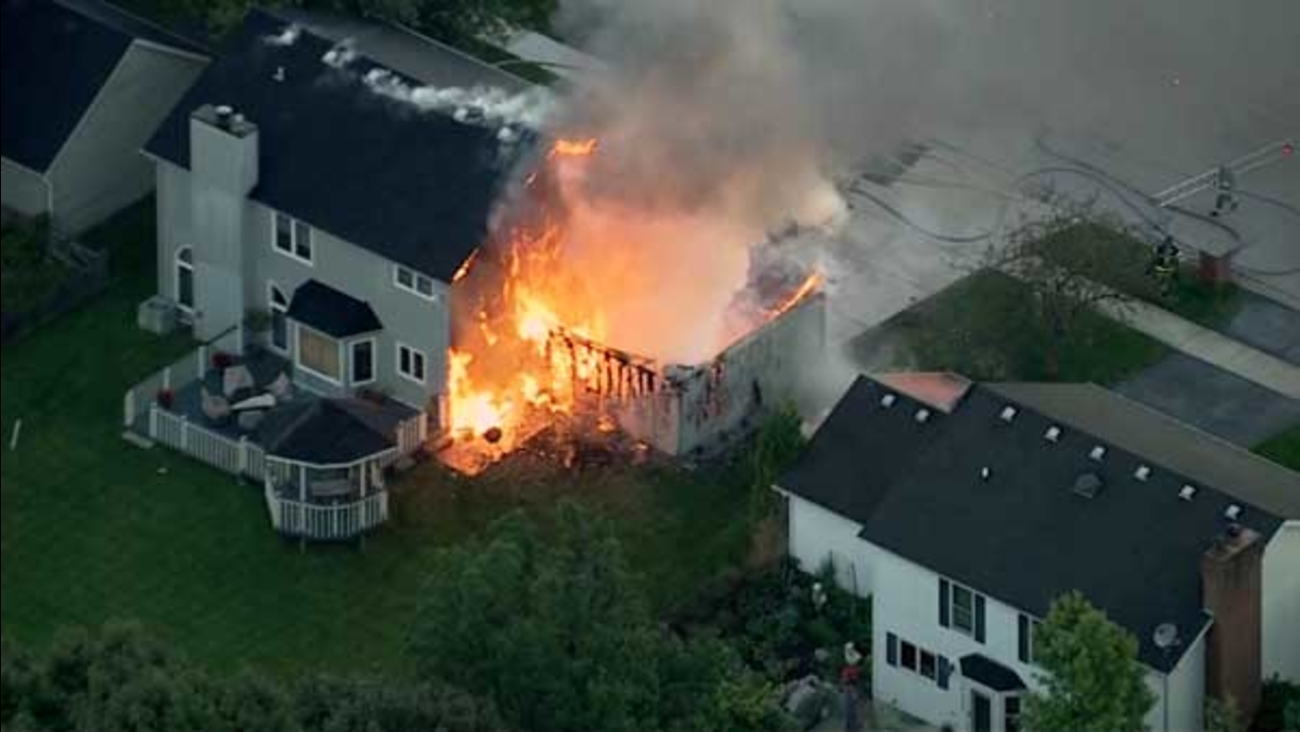 A garage went up in flames in west suburban Aurora.
