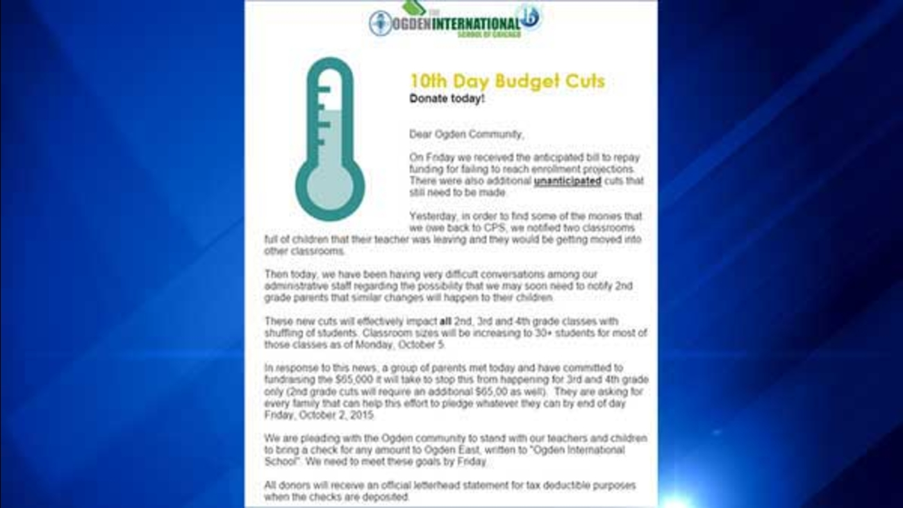 Parents at Ogden International School were asked to pitch in thousands of dollars to offset the effects of budget cuts.
