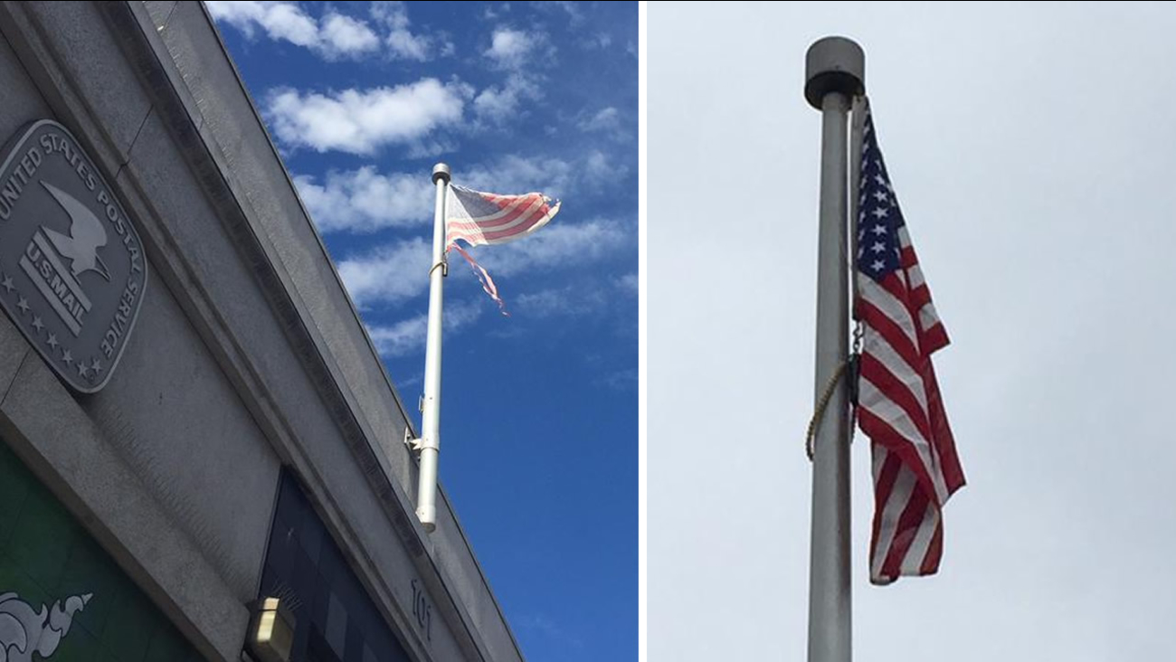 A torn and tattered American flag, pictured left, that was hanging above a post office in San Francisco was replaced, pictured right, on Wednesday, September, 30, 2015.