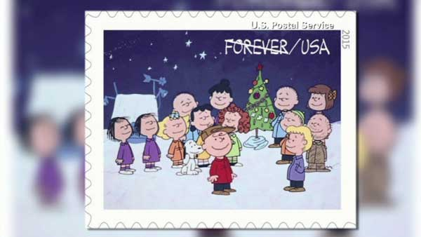 "The U.S. Postal Service is selling stamps featuring the ""Peanuts"" gang to celebrate the 50th anniversary of ""A Charlie Brown Christmas."""