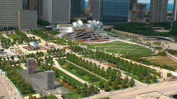 Millennium Park, Chicago's 24-acre, 475 million-dollar urban park, is shown on July 8, 2004, just before it officially opens.