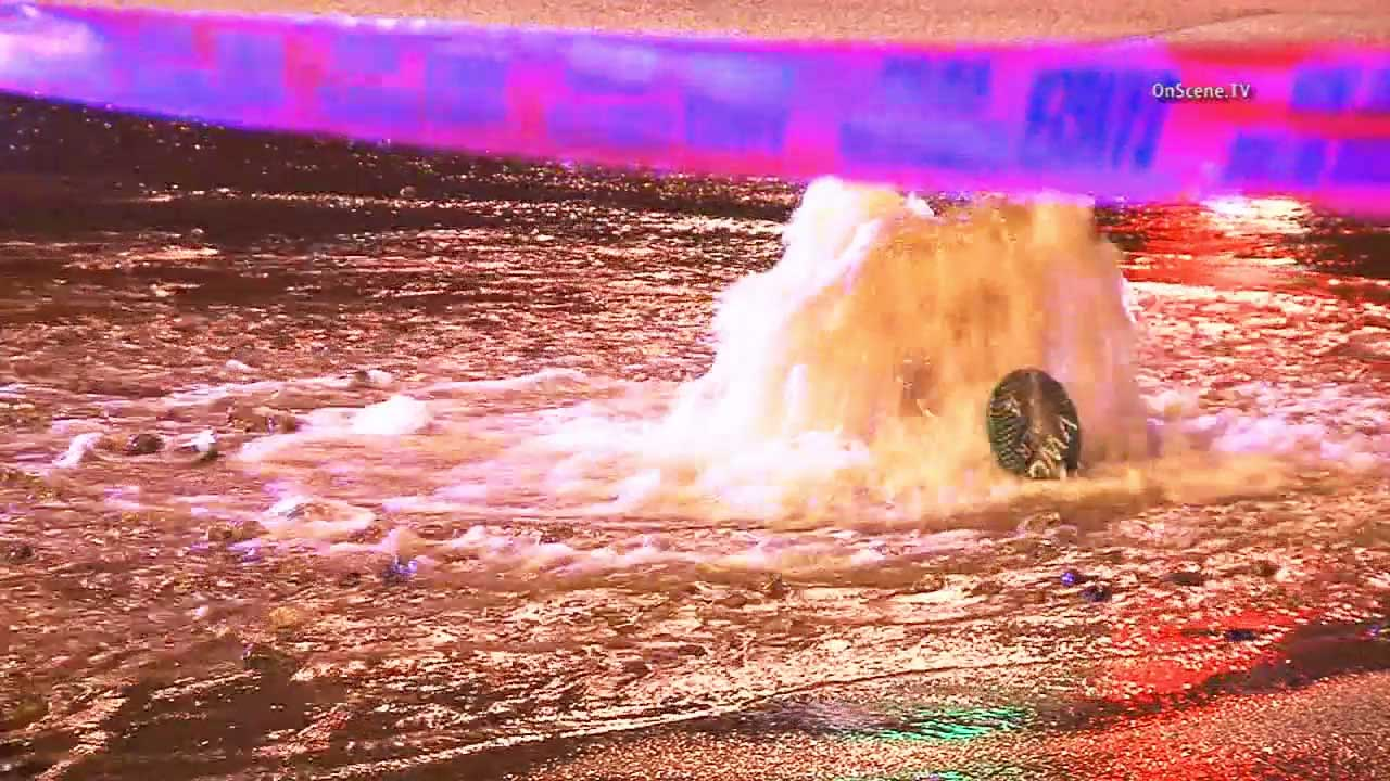 A broken water main sent water gushing through an intersection in Stevenson Ranch for hours on Thursday, Oct. 1, 2015.