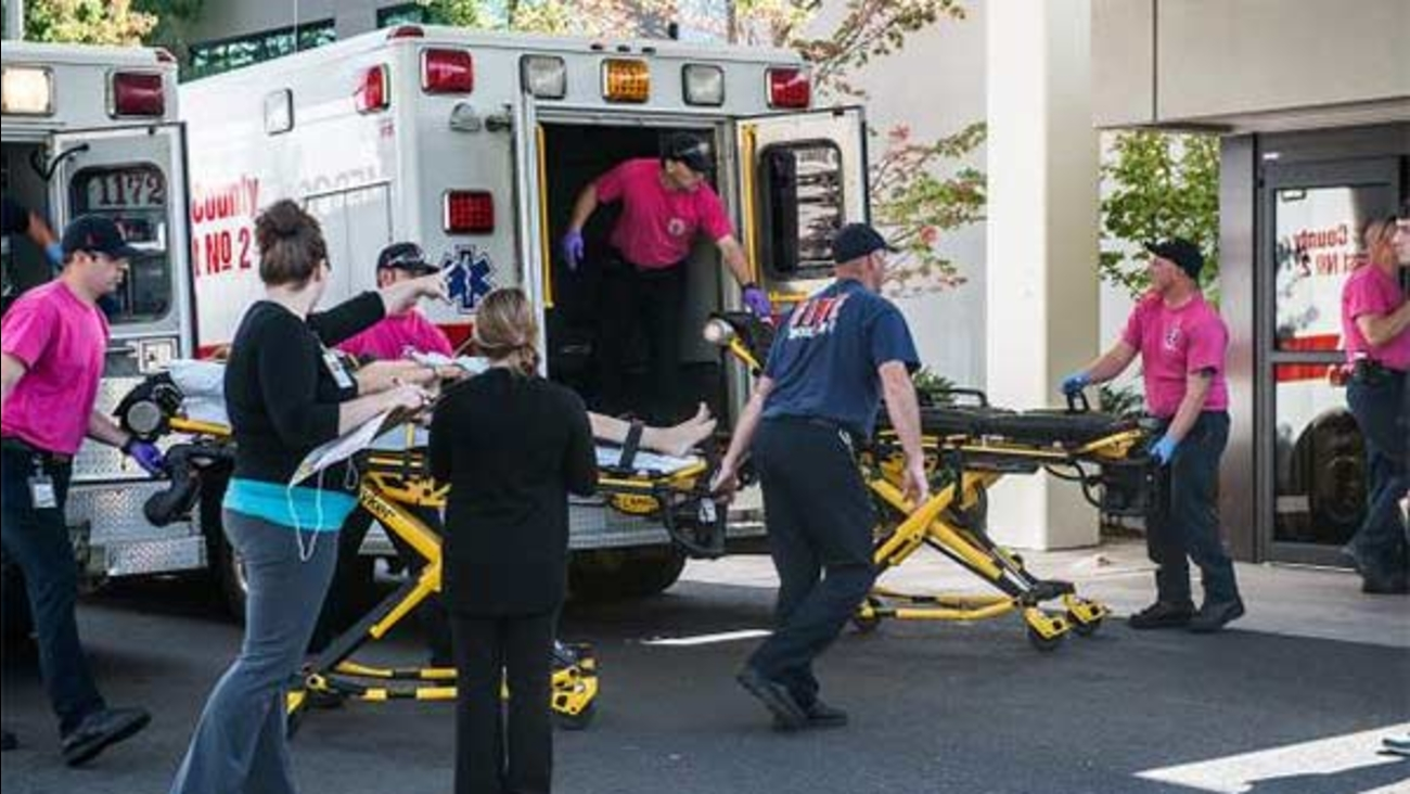 A patient is wheeled into the Emergency Room at Mercy Medical Center.