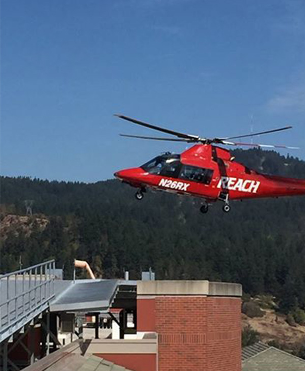 "<div class=""meta image-caption""><div class=""origin-logo origin-image none""><span>none</span></div><span class=""caption-text"">Two victims arriving (REACH helicopter landing pictured here) at PeaceHealth Sacred Heart Medical Center in Oregon. (Sacred Heart Medical Center/Facebook)</span></div>"