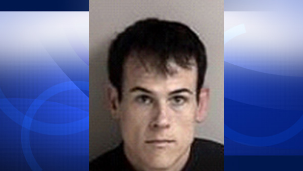 Matthew Muller is seen in a booking photo from police in Dublin, Calif.