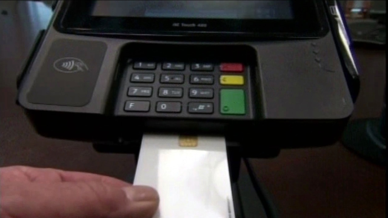FILE - A credit card being swiped is shown in this undated image.
