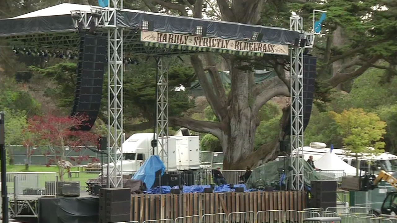 One of the stages has been set up for the annual Hardly Strictly Bluegrass Festival in Golden Gate Park, Oct. 1, 2015.