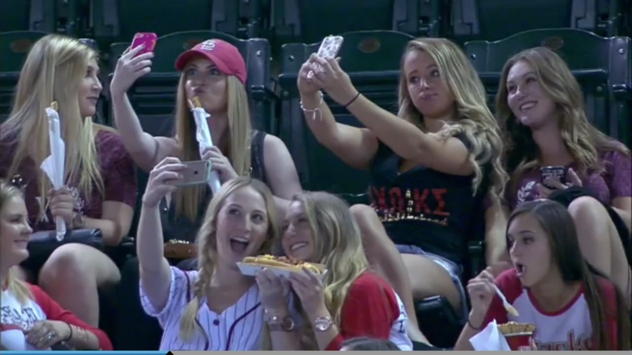 Video went viral of a group of sorority girls at an Arizona Diamondbacks game paying more attention to their phones than the game.