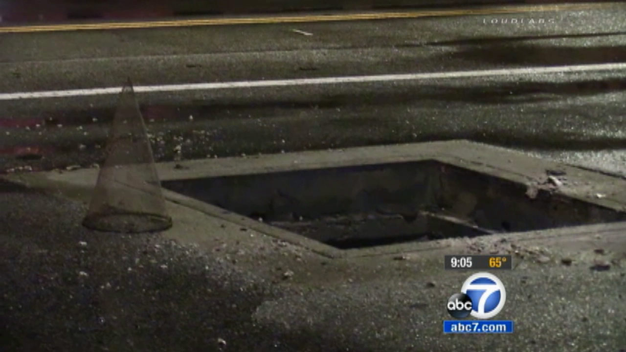 A manhole cover blew due to equipment failure in Sherman Oaks Sunday, Oct. 4, 2015.