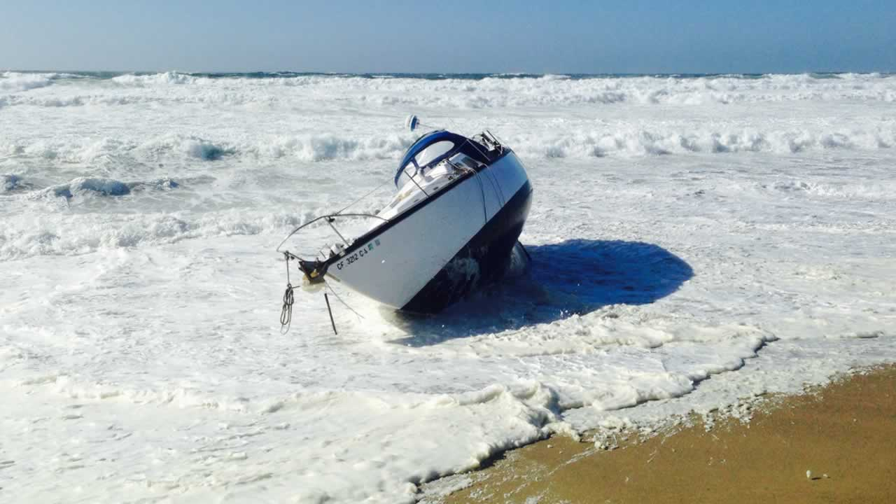The Marin County Fire Department was alerted to a 32' sailboat in distress near Ten Mile Beach off of the Point Reyes National Seashore on Saturday, Oct. 3, 2015.