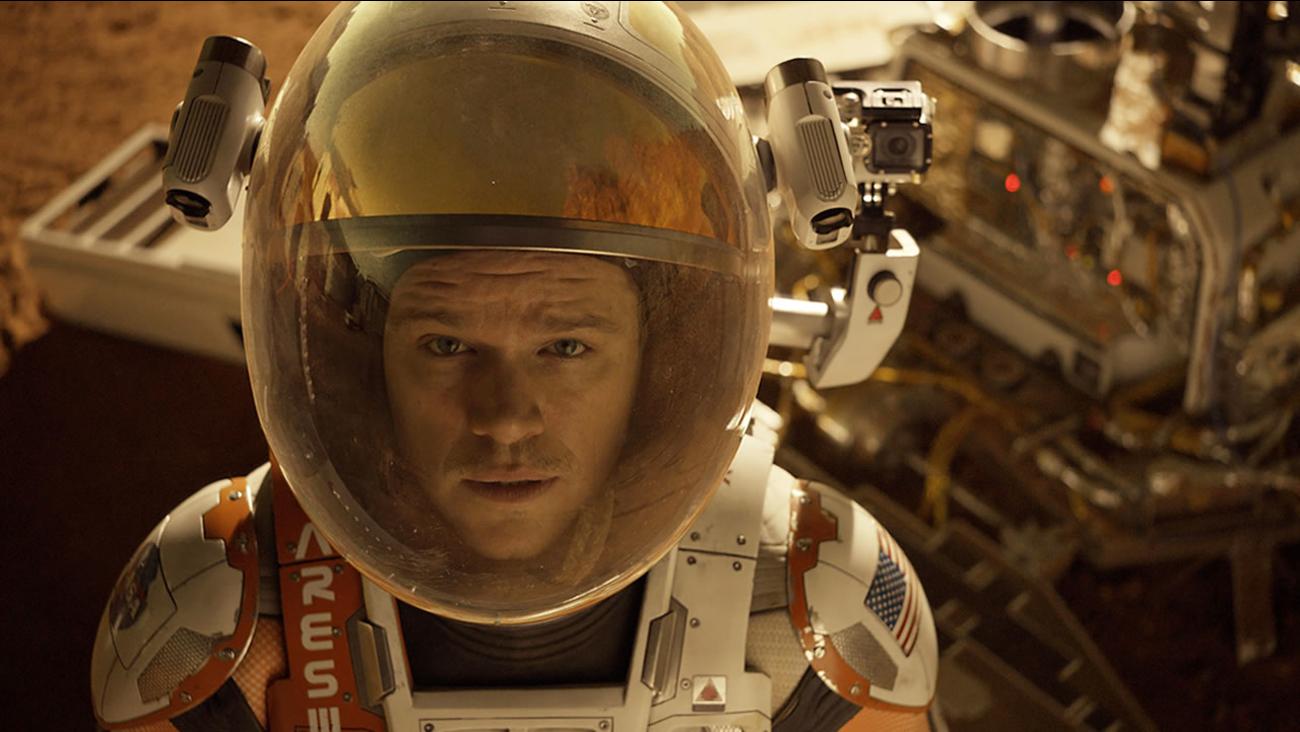 "This photo released by 20th Century Fox shows Matt Damon in a scene from the film, ""The Martian."" (Aidan Monaghan/20th Century Fox via AP)"