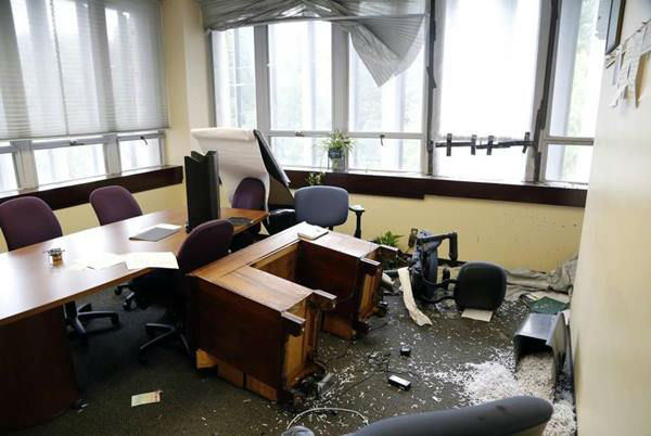 """<div class=""""meta image-caption""""><div class=""""origin-logo origin-image none""""><span>none</span></div><span class=""""caption-text"""">An unknown suspect broke into and vandalized The News & Observer newsroom (Photo/News & Observer)</span></div>"""