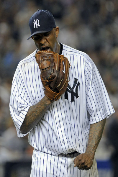 "<div class=""meta image-caption""><div class=""origin-logo origin-image none""><span>none</span></div><span class=""caption-text"">New York Yankees pitcher CC Sabathia leaves the field after allowing a run during the seventh inning. (AP Photo/ Bill Kostroun)</span></div>"