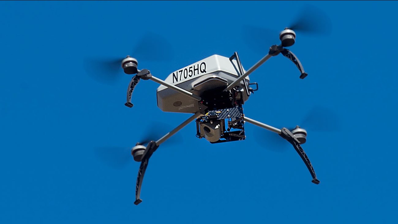 A drone operated by the Alameda County Sheriff's Office flies during a demonstration of a search and rescue operation on Friday, Aug. 14, 2015, in Dublin, Calif.