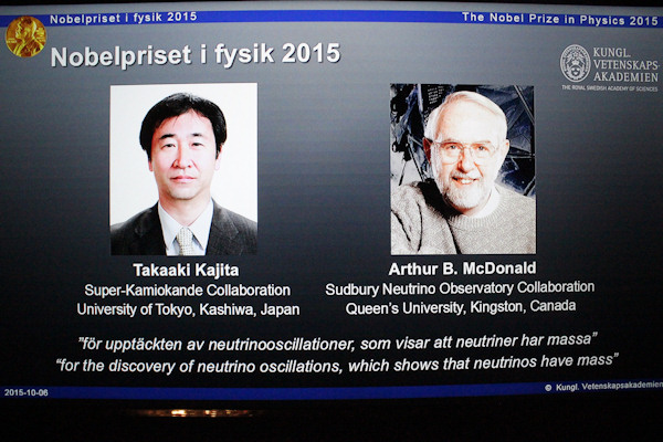 "<div class=""meta image-caption""><div class=""origin-logo origin-image none""><span>none</span></div><span class=""caption-text"">The portraits of the winners of the Nobel Prize in physics, Takaaki Kajita (left) and Arthur B McDonald, are displayed on a screen at a press conference Tuesday. (JONATHAN NACKSTRAND/AFP/Getty Images)</span></div>"