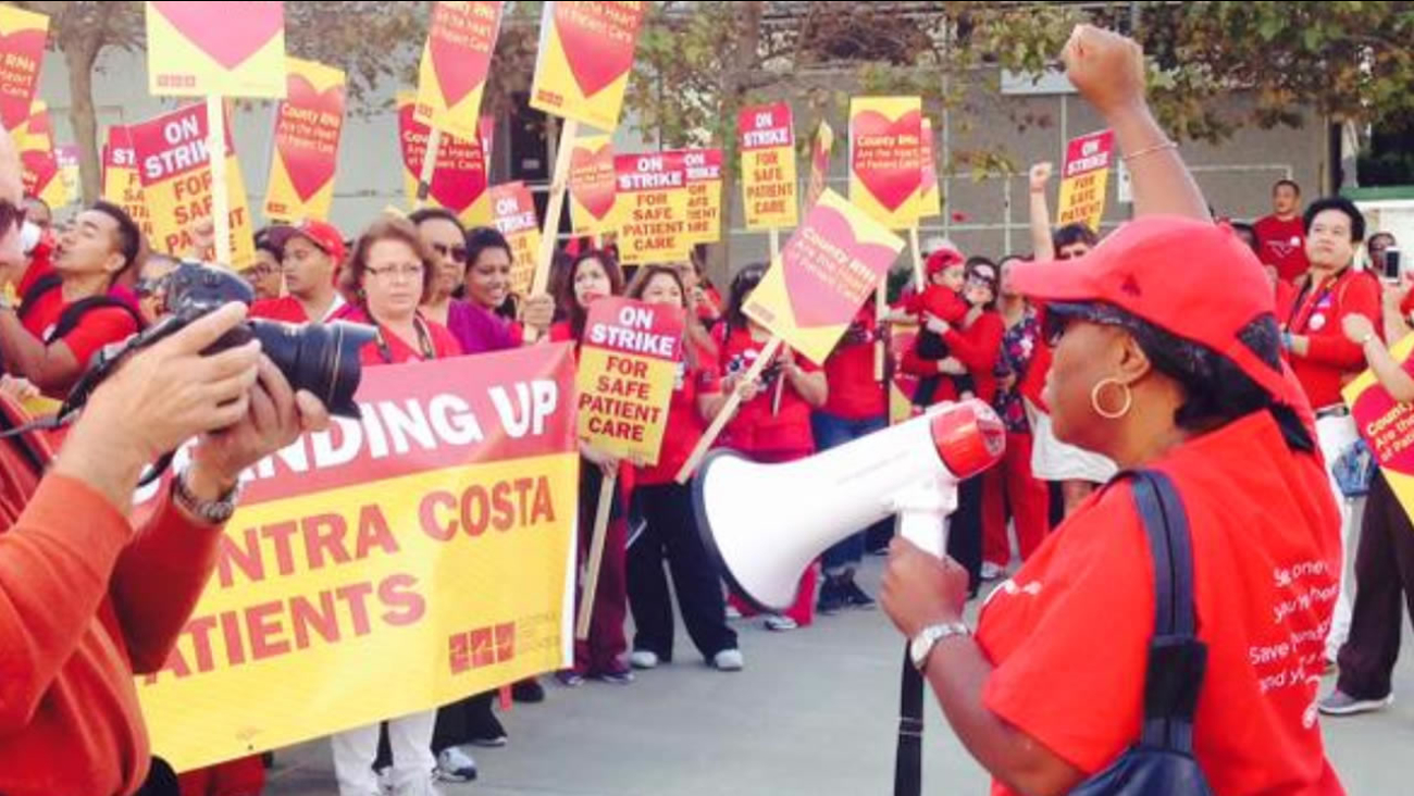 Nurses at the Contra Costa Regional Medical Center on the first day of a two-day strike on Tuesday, October 6, 2015, in Martinez, Calif.
