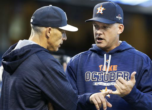 "<div class=""meta image-caption""><div class=""origin-logo origin-image none""><span>none</span></div><span class=""caption-text"">New York Yankees manager Joe Girardi, left, and Houston Astros manager A.J. Hinch chat (AP Photo/ Kathy Willens)</span></div>"