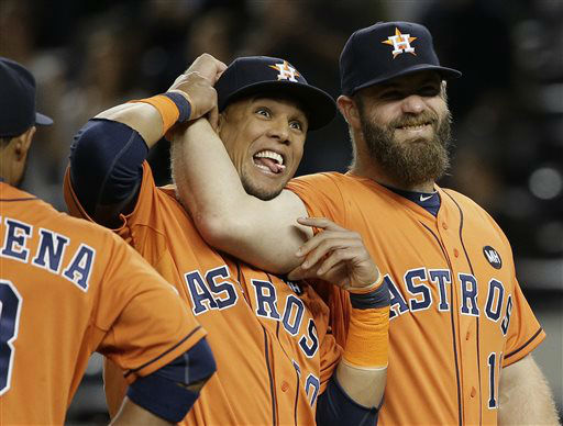 "<div class=""meta image-caption""><div class=""origin-logo origin-image none""><span>none</span></div><span class=""caption-text"">Houston Astros' Carlos Gomez, left, and Evan Gattis joke around during player introductions (AP Photo/ Julie Jacobson)</span></div>"