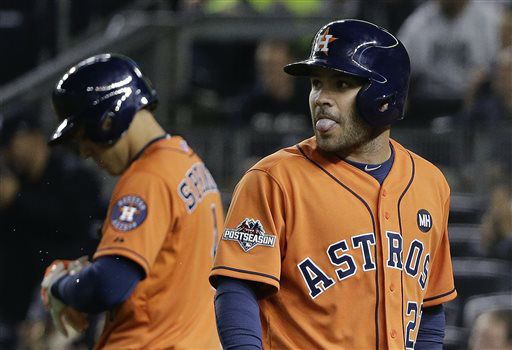 "<div class=""meta image-caption""><div class=""origin-logo origin-image none""><span>none</span></div><span class=""caption-text"">Houston Astros' Jose Altuve, right, reacts as he walks back to the dugout after striking out (AP Photo/ Julie Jacobson)</span></div>"