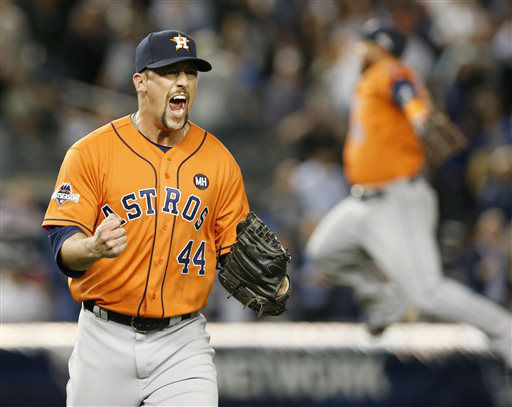 "<div class=""meta image-caption""><div class=""origin-logo origin-image none""><span>none</span></div><span class=""caption-text"">Houston Astros relief pitcher Luke Gregerson (44) reacts as a fellow teammate leaps in the air (AP Photo/ Kathy Willens)</span></div>"