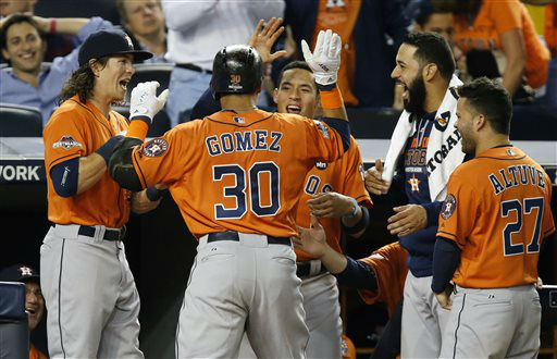 "<div class=""meta image-caption""><div class=""origin-logo origin-image none""><span>none</span></div><span class=""caption-text"">Houston Astros left fielder Colby Rasmus and teammates celebrate as they greet Astros Carlos Gomez after he hit a home run (AP Photo/ Kathy Willens)</span></div>"