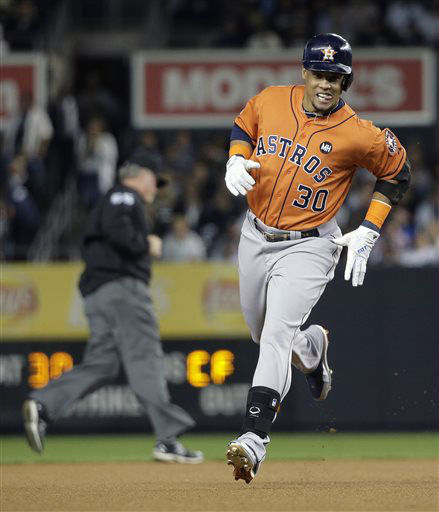 "<div class=""meta image-caption""><div class=""origin-logo origin-image none""><span>none</span></div><span class=""caption-text"">Houston Astros' Carlos Gomez (30) rounds the bases after hitting a solo-home run (AP Photo/ Julie Jacobson)</span></div>"