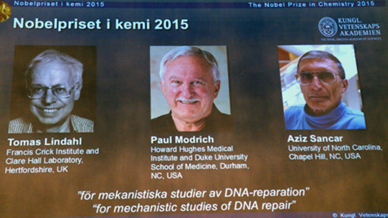 Sweden's Tomas Lindahl, American Paul Modrich and U.S.-Turkish scientist Aziz Sancar