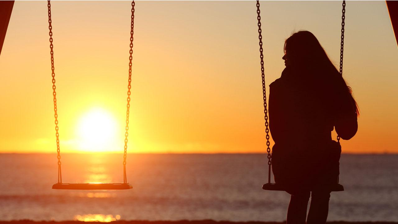 Single person on swingset