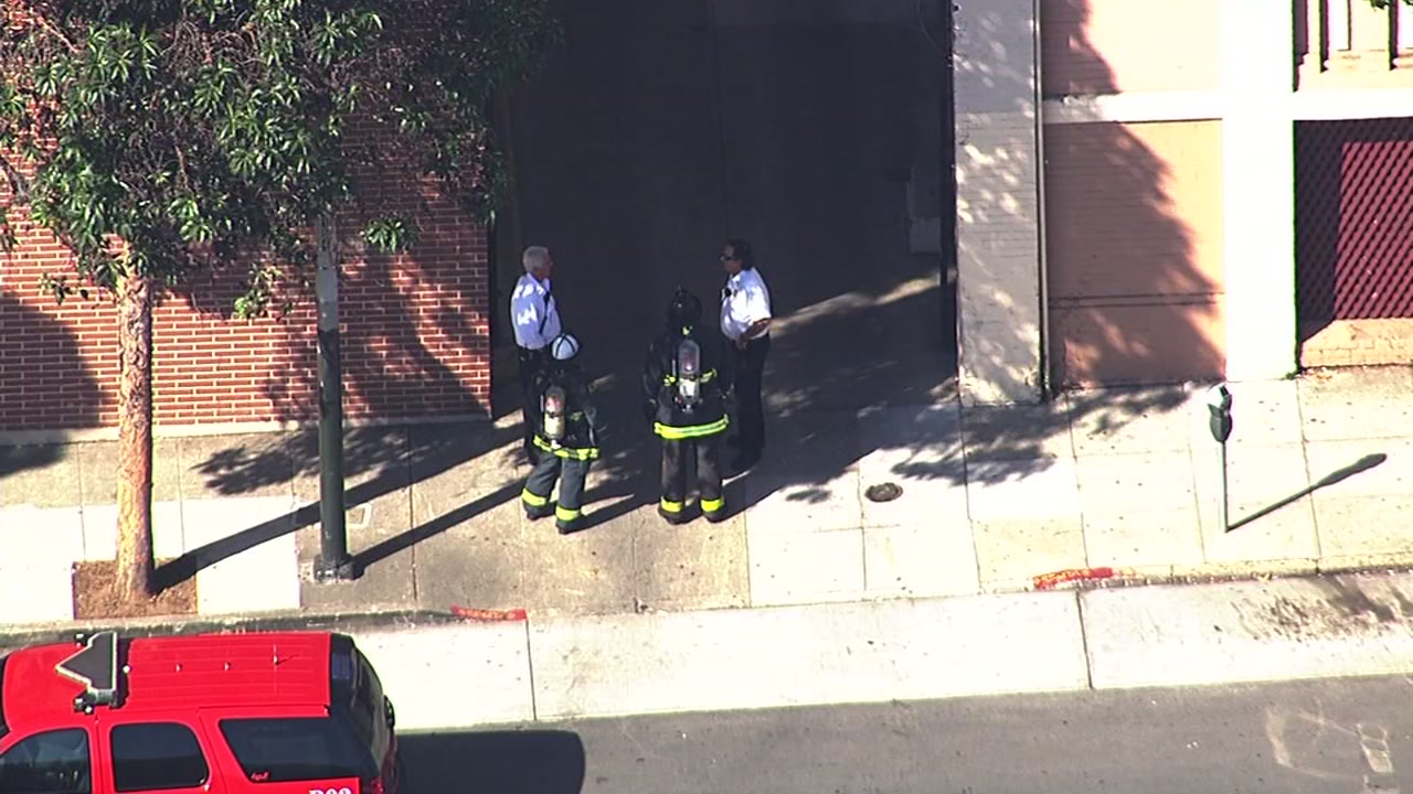 Crews investigate a hazmat situation in San Francisco on Wednesday, October 7, 2015.