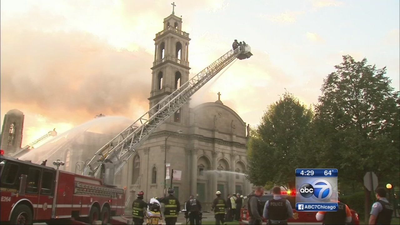 Historic church burns