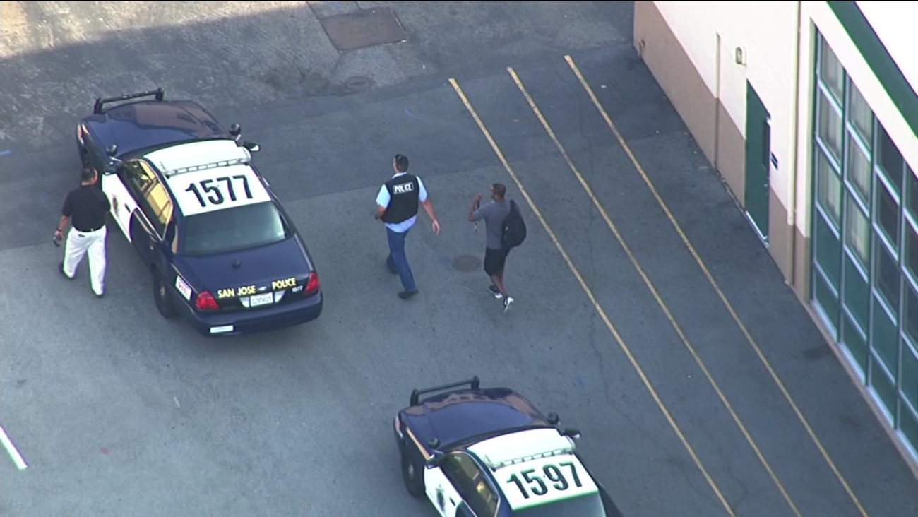 Streets were shut down in San Jose, Calif. as police searched for a handcuffed suspect who escaped a bail bondsman on Wednesday, October 7, 2015.